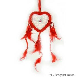 Bilde av Drømmefanger: Hjerteformet, 1 ring, frotté, rød 12cm